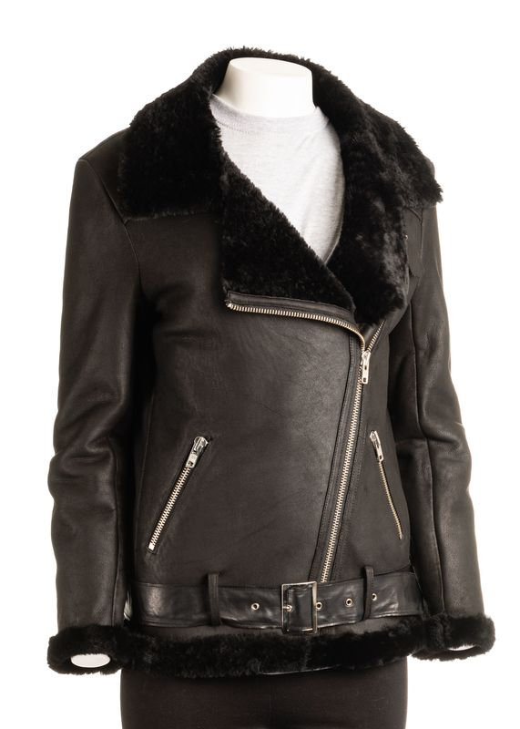 Ladies Black Shearling Sheepskin Biker Style Jacket