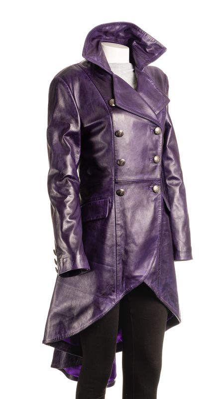 Ladies Purple Leather Dip Hem Double Breasted Military Style 3/4 Coat