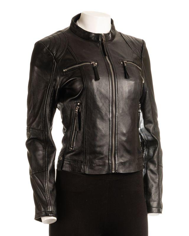 Ladies Black Biker Style Leather Jacket
