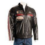 Men's Black Nappa Racing Biker Style Leather Jacket