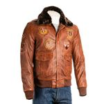 Men's Timber Aviator Pilot Flight A2 Style Leather Jacket With Patch Detail And Detachable Faux Fur Collar