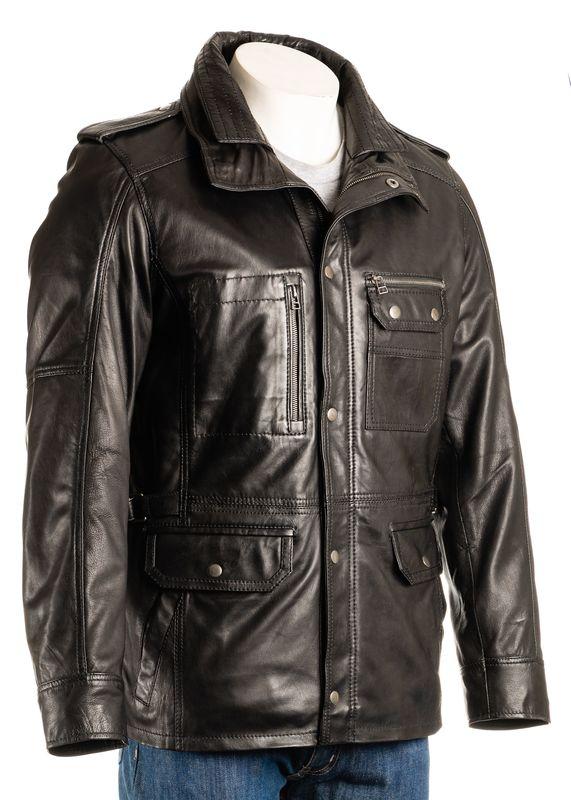 Men's Black Double-Collared Leather Coat