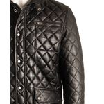 Men's Black Quilted Leather Coat with Diamond Stitch