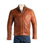 Men's Timber Diamond Shoulder Biker Style Leather Jacket