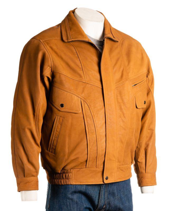 Men's Tan Nubuck Buff Pocket Detail Blouson Style Leather Jacket