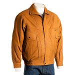 Men's Tan Nubuck Buff Pocket Detail Blouson Style Leather Jacket