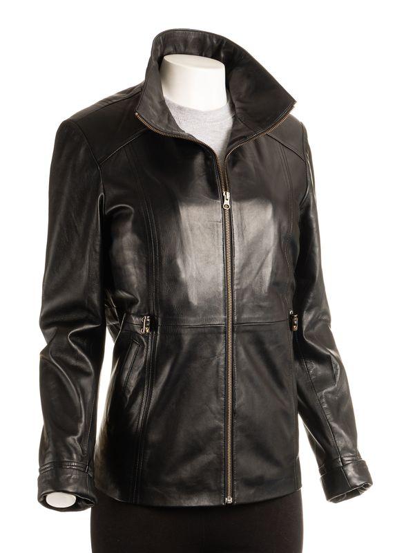 Ladies Black Hip Length Toggle Waist Leather Jacket