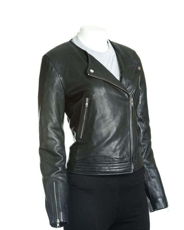 Women's Black Leather Collarless Cross-Zip Biker Jacket