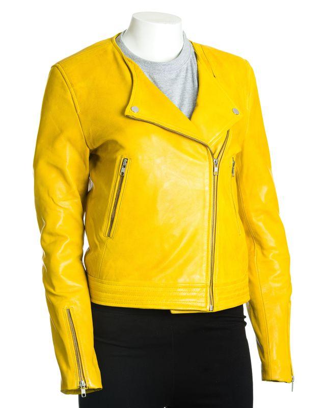 Women's Yellow Leather Collarless Cross-Zip Biker Jacket