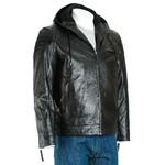 Men's Black Hooded Leather Stitch Detail Bomber Jacket