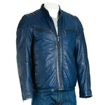 Men's Blue Biker Style Leather Jacket