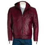 Men's Red Hooded Leather Stitch Detail Bomber Jacket
