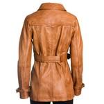 Women's Cognac Leather Trench Coat