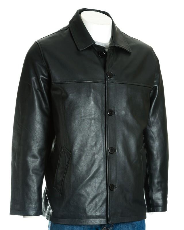 Men's Black Classic Box Style Leather Jacket