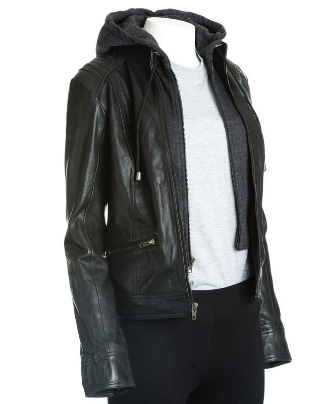 Women's Black Leather Hooded Jacket