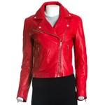 Women's Red Leather Biker Jacket