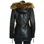 Women's Black Leather Parka Jacket with Stitch Detail