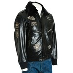Men's Black Aviator Pilot Flight A2 Style Leather Jacket With Patch Detail And Detachable Faux Fur Collar