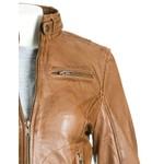 Women's Tan Fitted Leather Biker Jacket