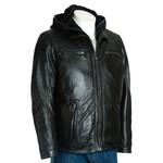 Men's Black Leather Jacket with Detachable Hood