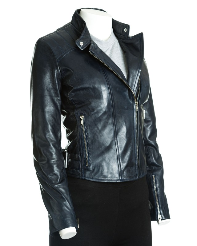 Women's Navy Leather Tab Collar Biker Jacket