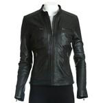 Women's Black Minimalist Leather Biker Style Jacket