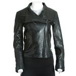 Women's Black Asymmetric Collar Leather Biker Style Jacket