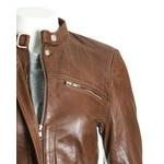 Women's Brown Leather Biker Jacket with Stitch Detail