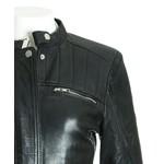 Women's Black Leather Biker Jacket with Stitch Detail