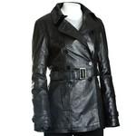 Women's Black Leather Trench Coat