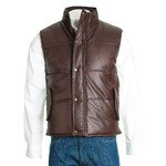 Men's Brown Quilted Leather Gilet