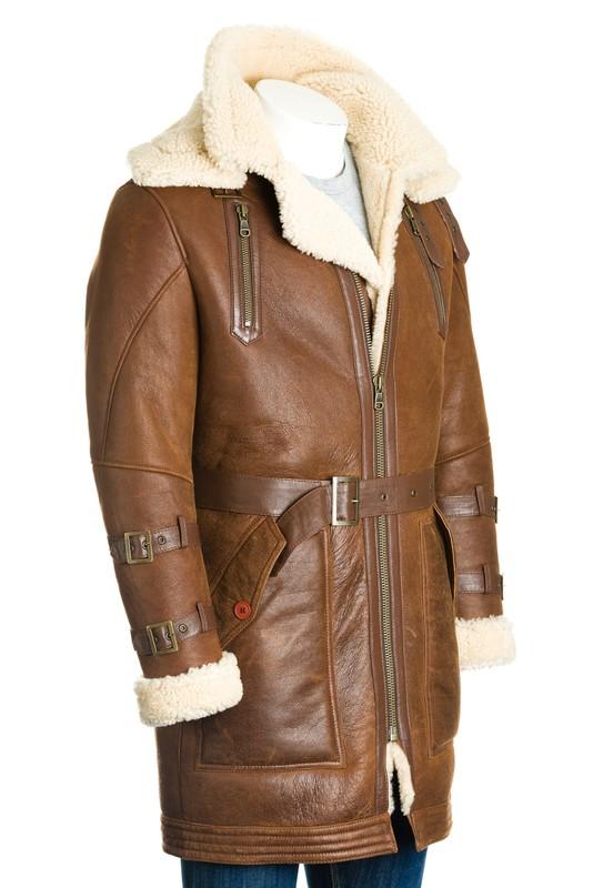 Men's Tan Sheepskin Trench Coat