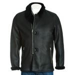 Men's Black Sheepskin Shearling Asymmetric Jacket