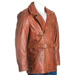 Men's Brown Belted Soft Cow Hide Leather Coat