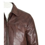 Men's Brown Collared Straightzip Leather Jacket