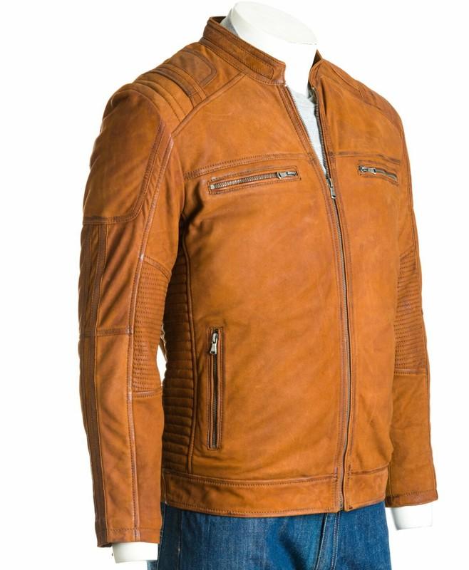 Men's Cognac Matte Finish Leather Biker Jacket