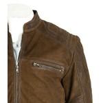 Men's Brown Matte Finish Leather Biker Jacket