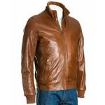 Men's Brown High Rib-Knit Collar Leather Bomber