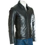 Men's Black Collared Leather Jacket