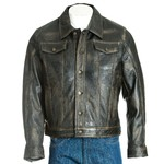 Men's Antique Black Denim Shirt Style Leather Jacket