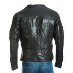Men's Black Leather Biker Jacket with Hi Shine Finish