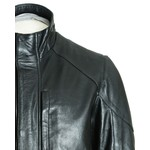 Men's Black Stand Up Collar Leather Coat