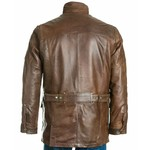 Men's Brown Stand Up Collar Leather Coat