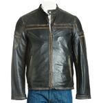 Men's Antique Black Tab Collar Leather Biker Jacket