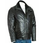 Men's Black Buckled Strap Collar with Detachable Fleece Front