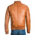 Men's Tan Rib-Knit Collar Leather Bomber Jacket