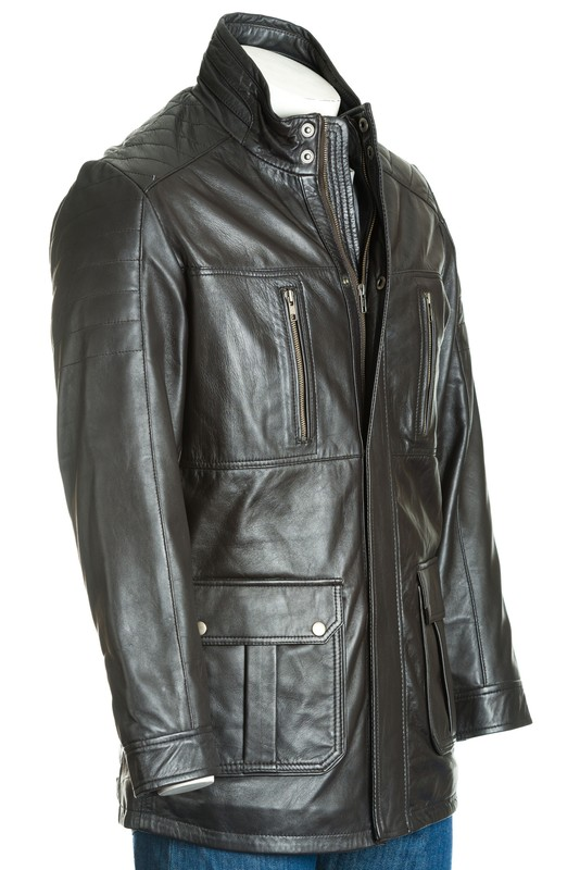 Men's Brown Leather Coat With Shoulder Panel Stitch Detail