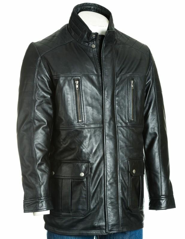 Men's Black Leather Coat With Shoulder Panel Stitch Detail