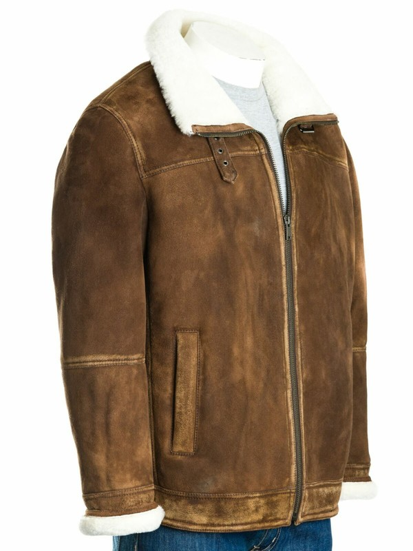 Men's Tan Sheepskin Buckle Collar Jacket