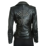 Women's Brando Style Leather Jacket With Studded Detail